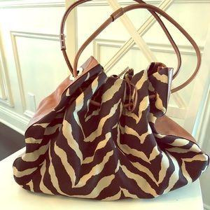 KATE SPADE zebra and leather bucket bag